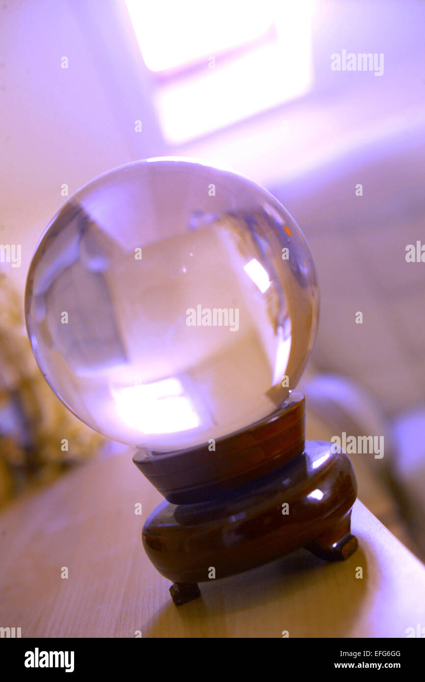 Fortune tellers crystal ball - Stock Image
