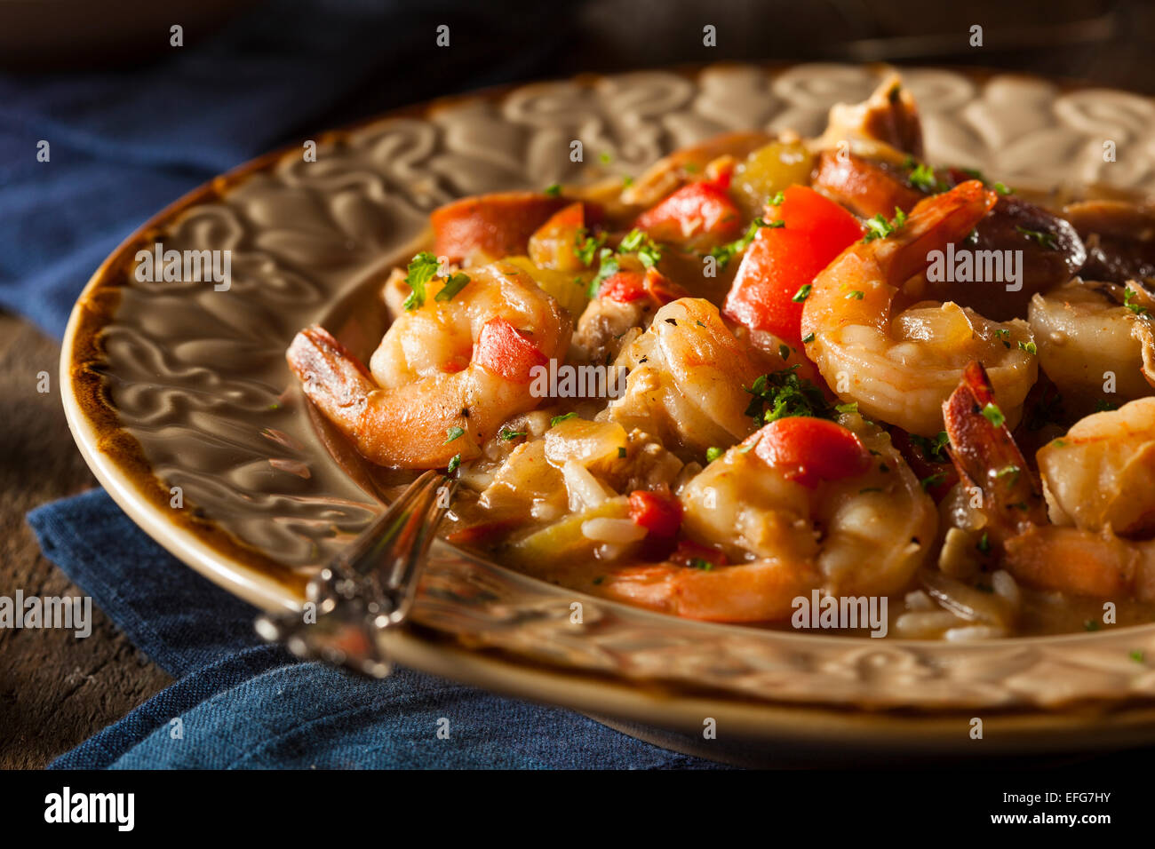 Homemade Shrimp and Sausage Cajun Gumbo Over Rice - Stock Image