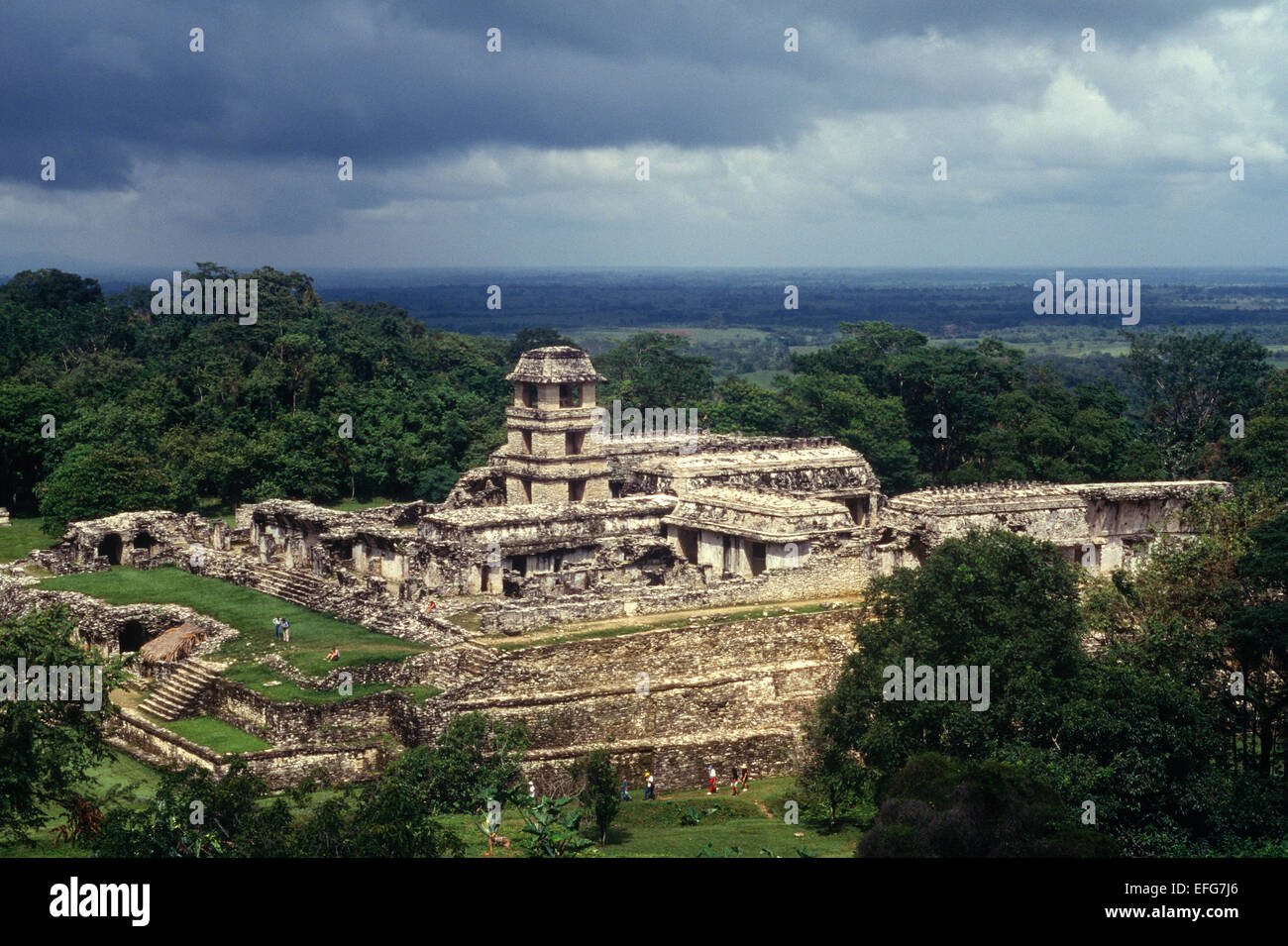 The Palace. Maya architecture, Palenque. Mexico - Stock Image