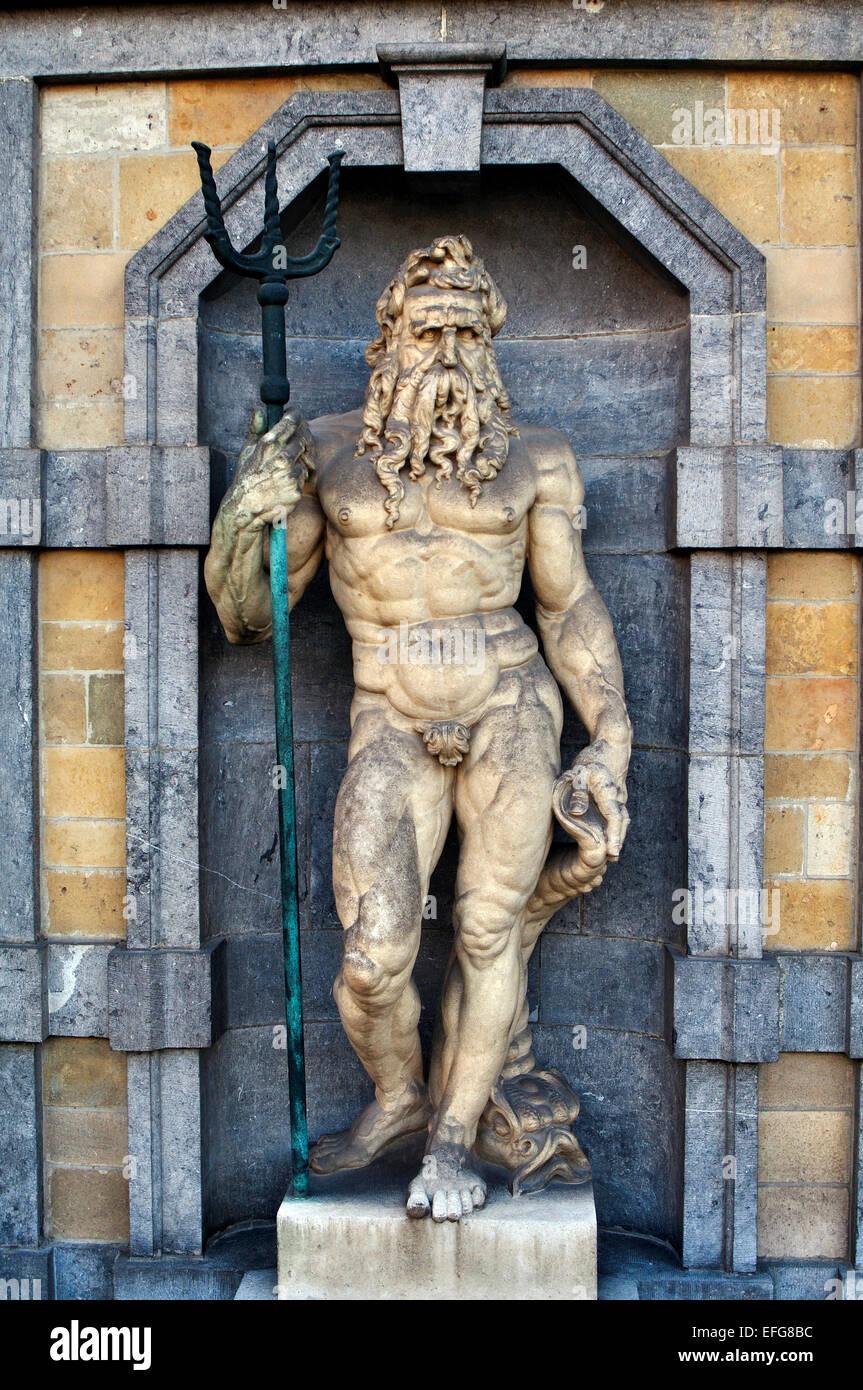 Belgium, Antwerp. House of Rubens, Statue of Neptune - Stock Image