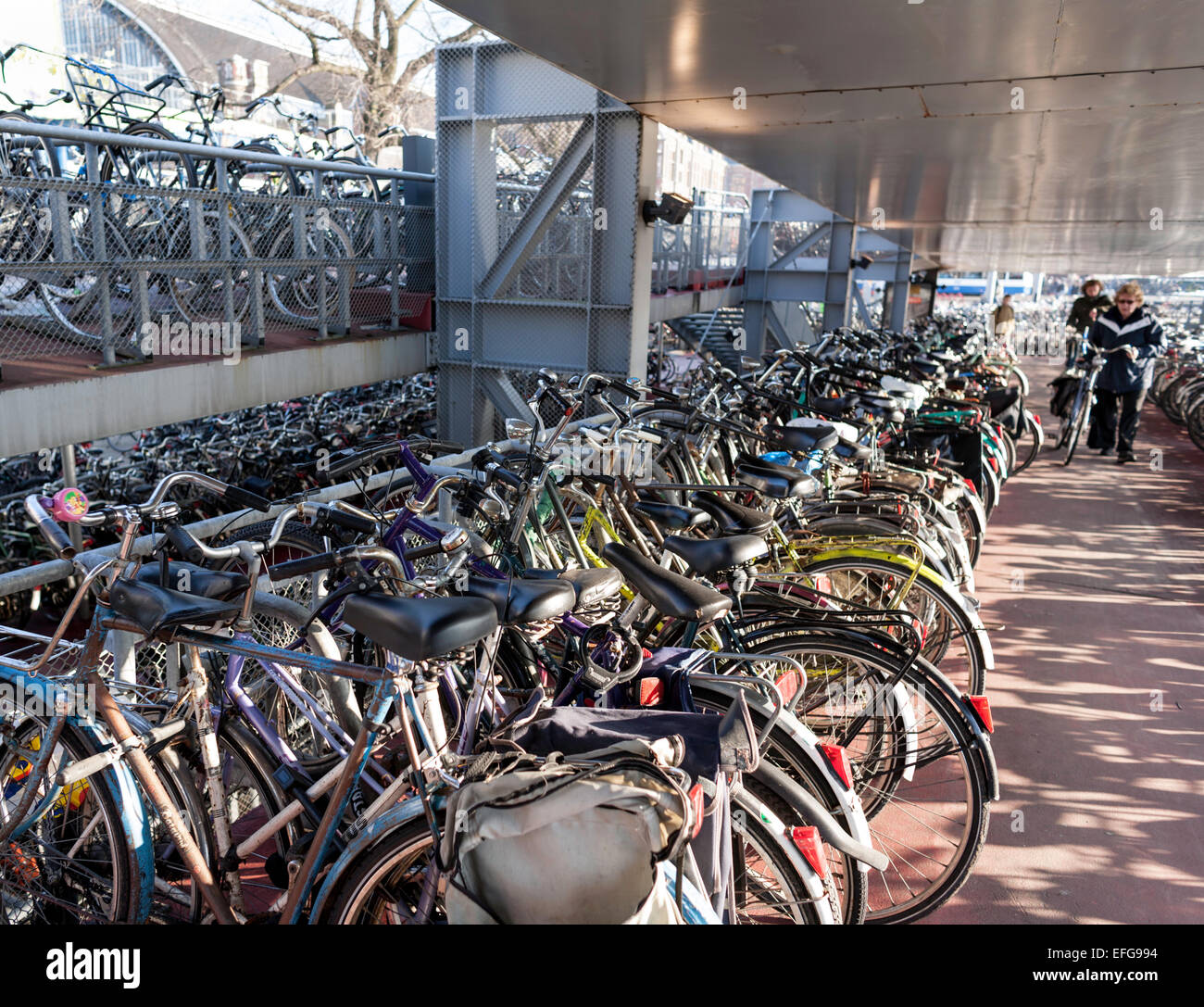 Multistory bicycle parking garage near Central Station, Amsterdam, The Netherlands - Stock Image
