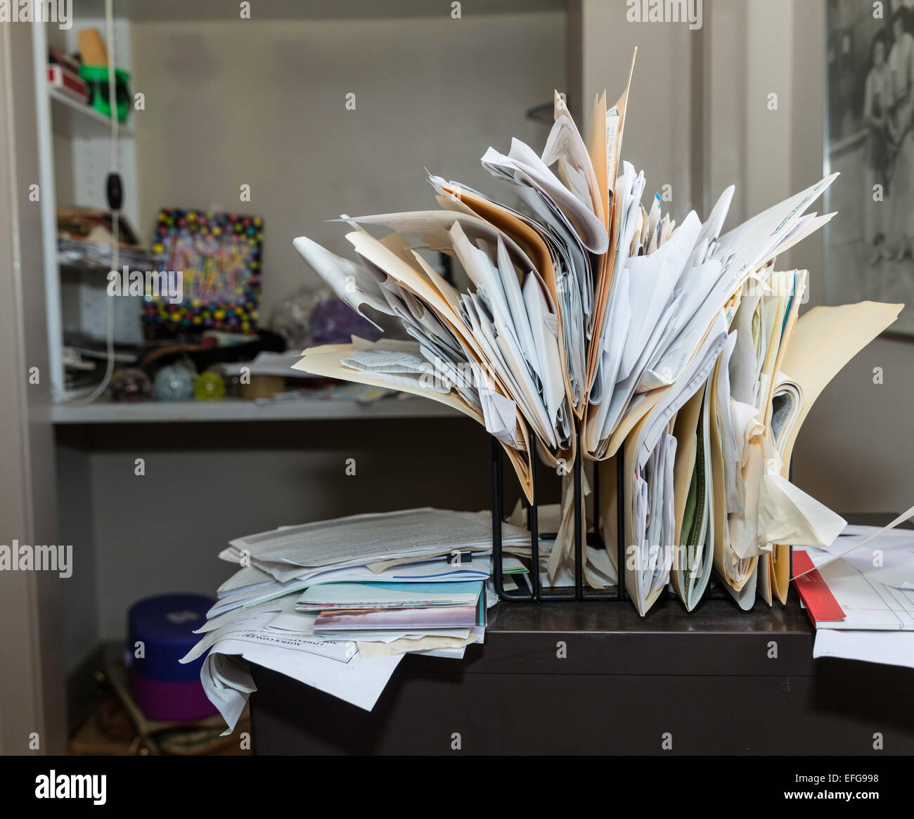 Messy Chaotic Desk And Files Stock Photo 78419860 Alamy