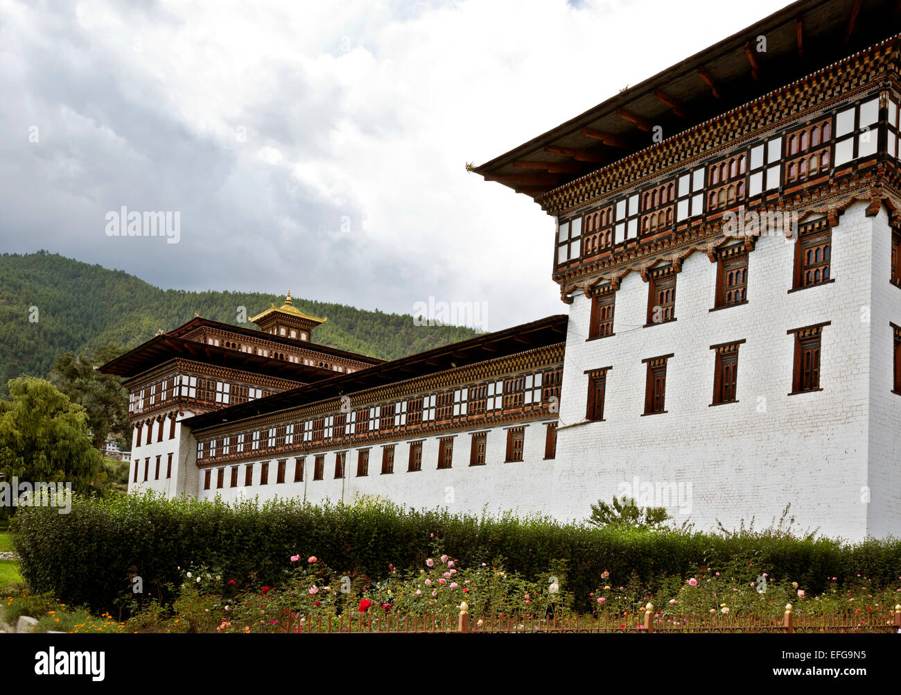 BU00018-00...BHUTAN - Tashichoedzong in the capital city of Thimphu, the center of government for the country. - Stock Image