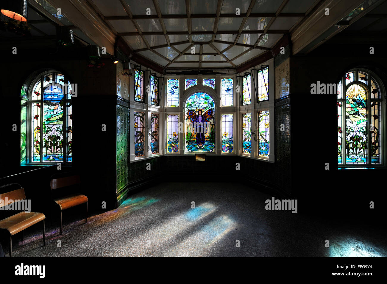 Stained glass interior in Victoria Baths, Manchester - Stock Image