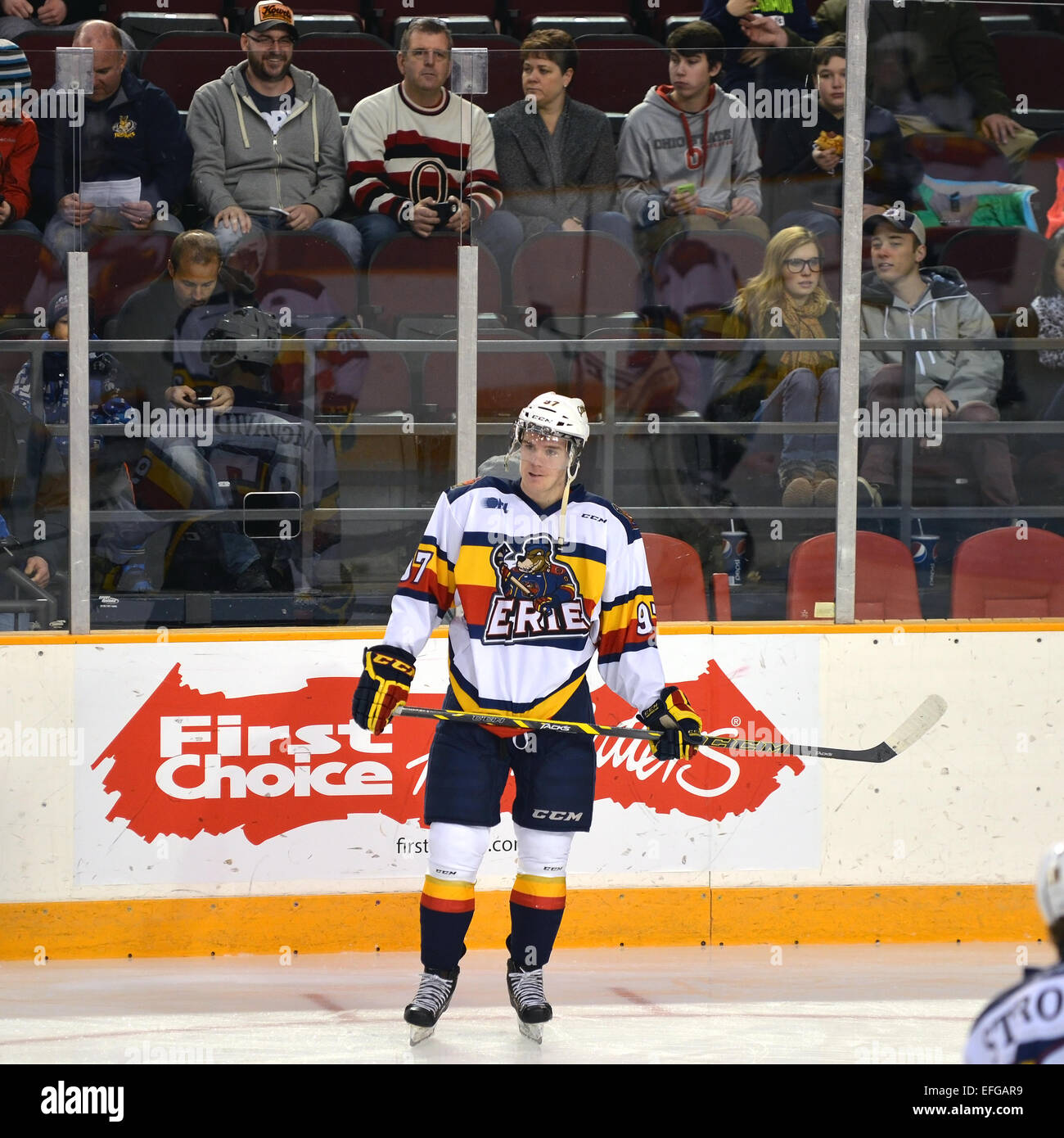 Connor McDavid of the Erie Otters in the warm-up before their Ontario Hockey League (junior) game.  McDavid is the - Stock Image