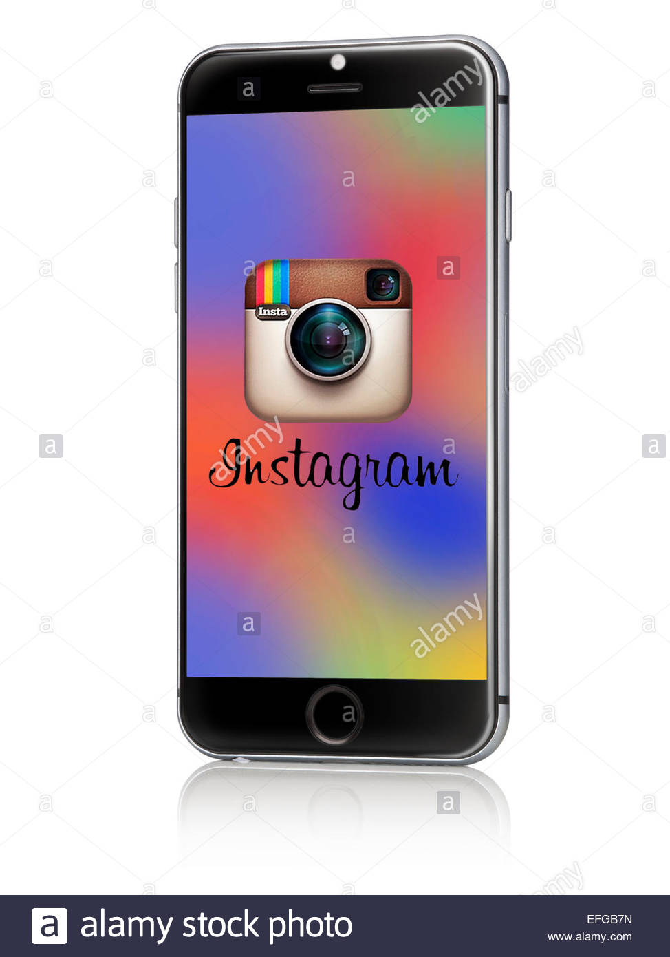 Apple iphone on a white background with instagram logo on screen - Stock Image
