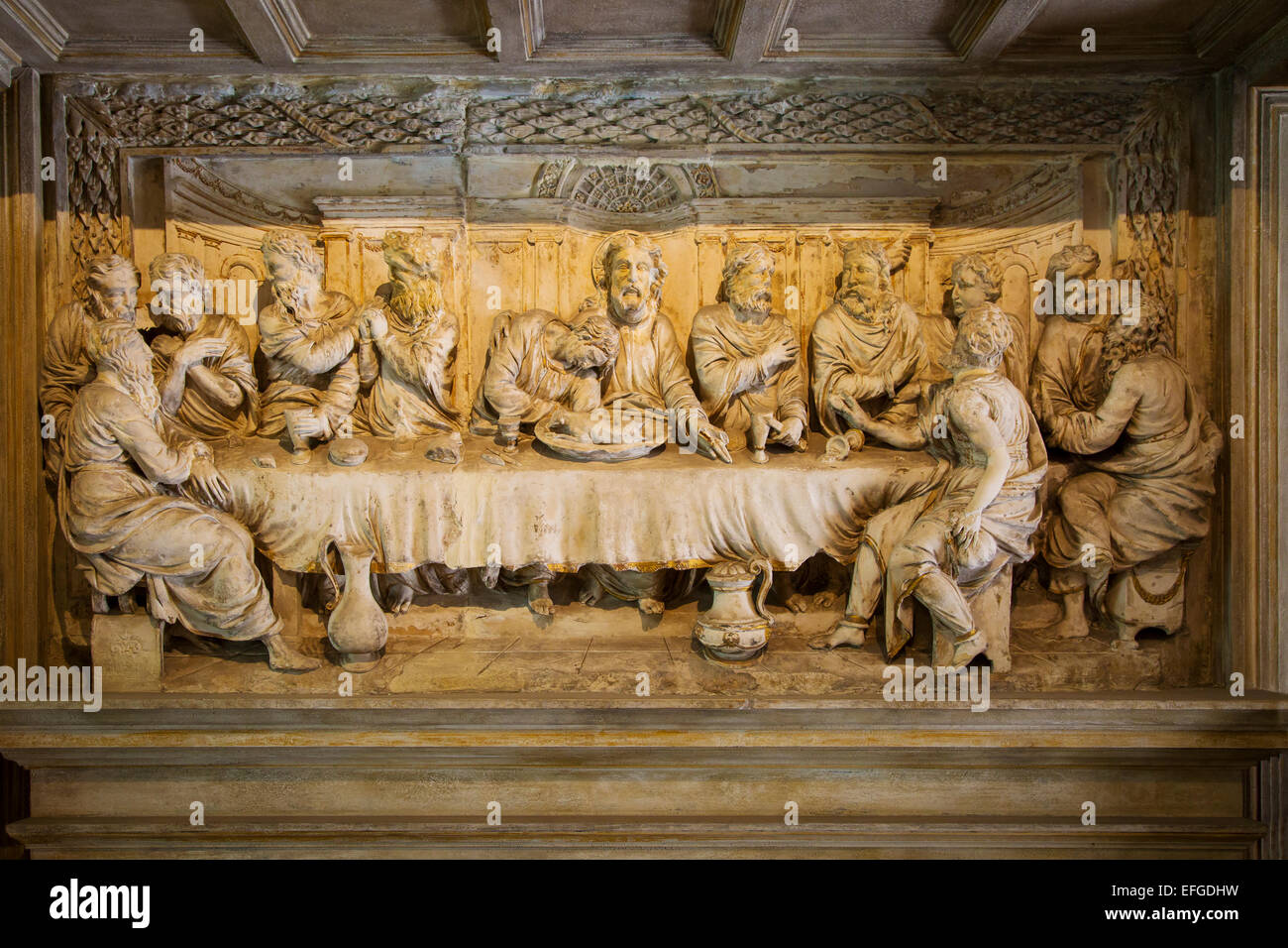 Grand tour wood carving of the last supper after leonardo circa