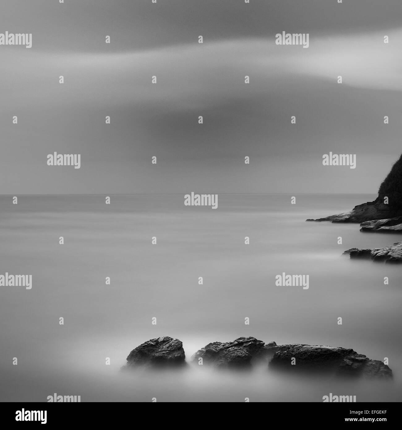 Cliff and sea rocks above the sea at Inamuragasaki, Kanagawa Prefecture, Japan - Stock Image
