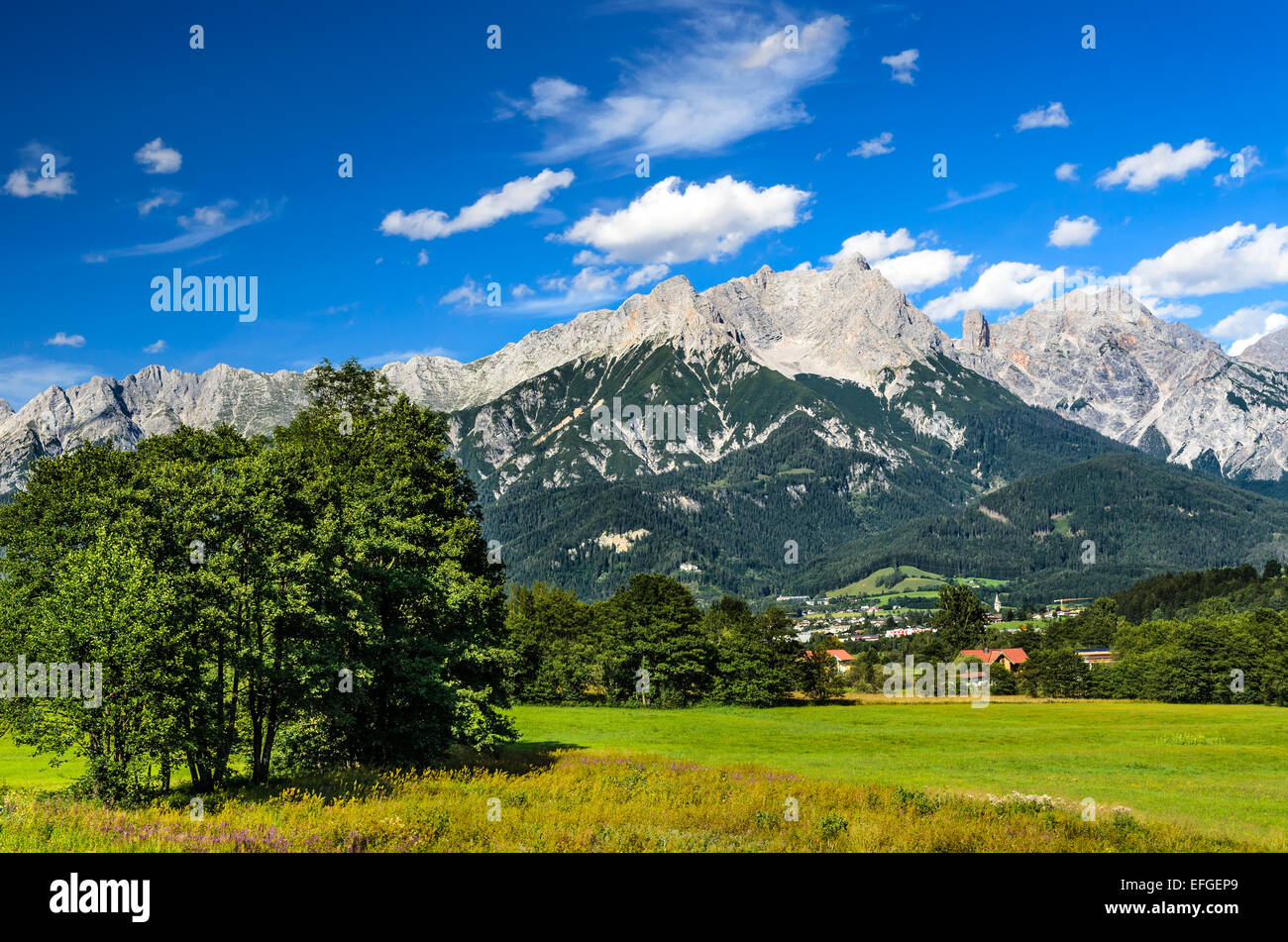 Austria. Berchtesgaden Alps range scenery with Saalfelden am Steinernen Meer small city, mountaineering attraction Stock Photo