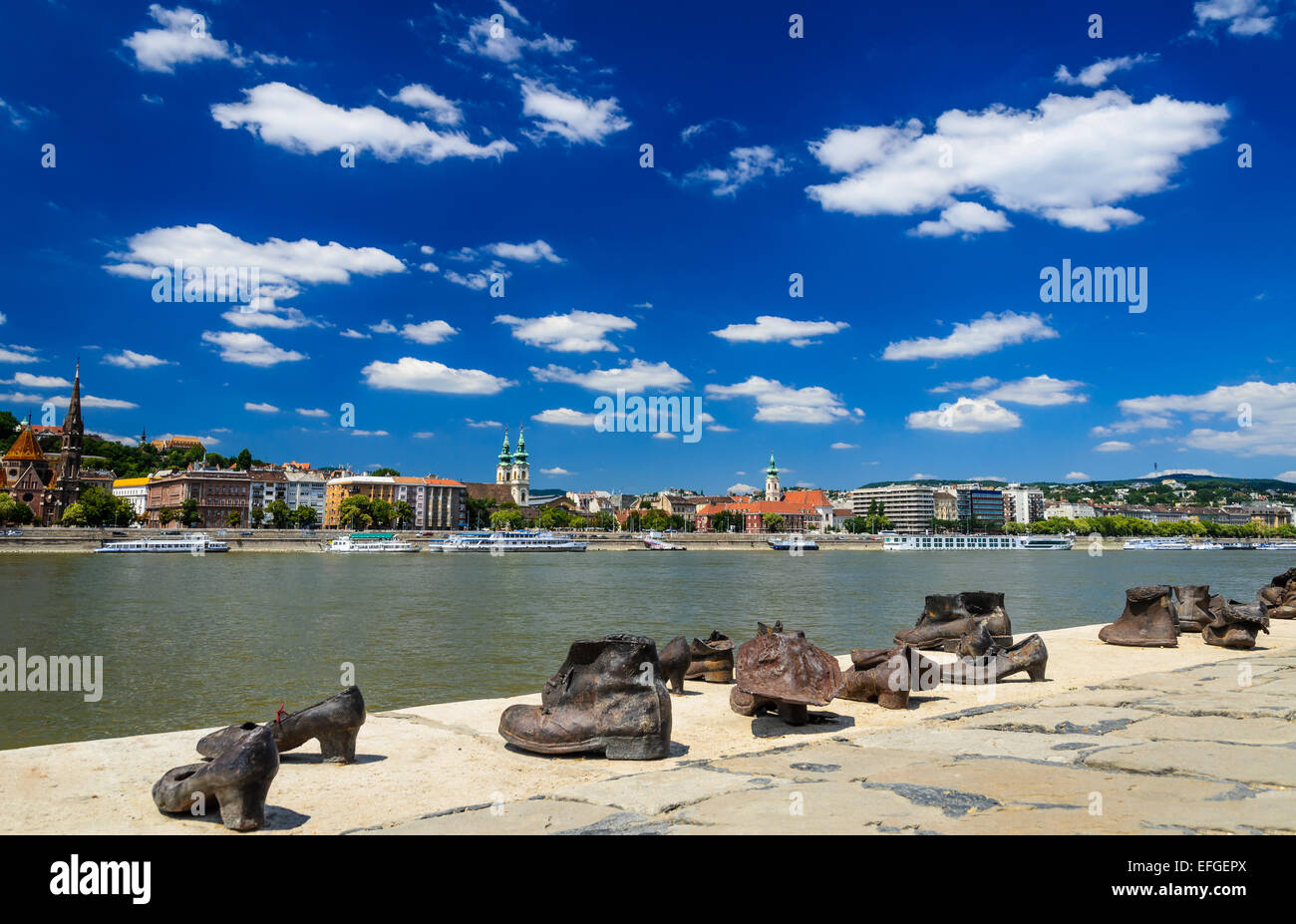 Shoes on the Danube Bank is a memorial for the Jews who were killed by fascists. Budapest, Hungary. - Stock Image