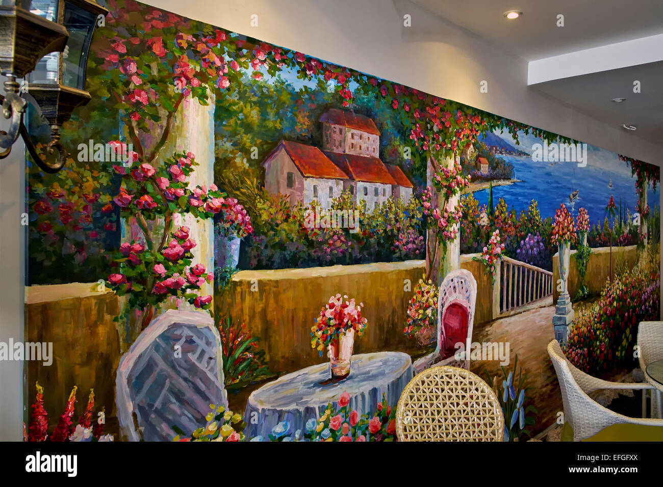 italian wallpaper mural  Italian restaurant interior with feature colourful wall mural of ...