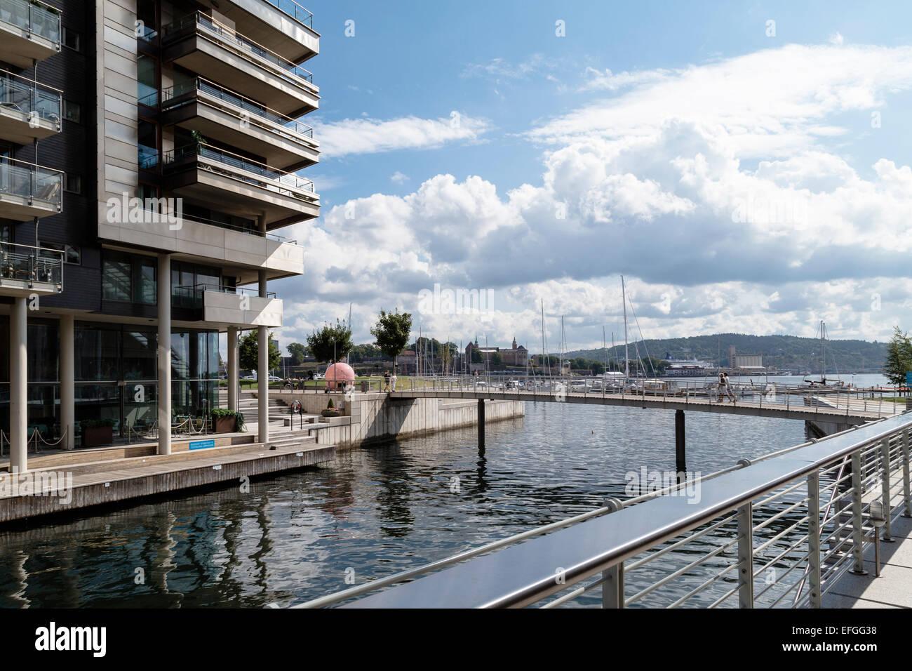 Modern building, Tjuvholmen, Oslo, Norway - Stock Image