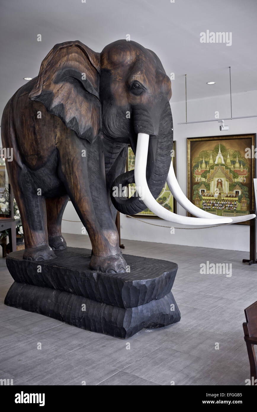 Large Wooden Carved Elephant Statue At The Thai Arts And Cultural