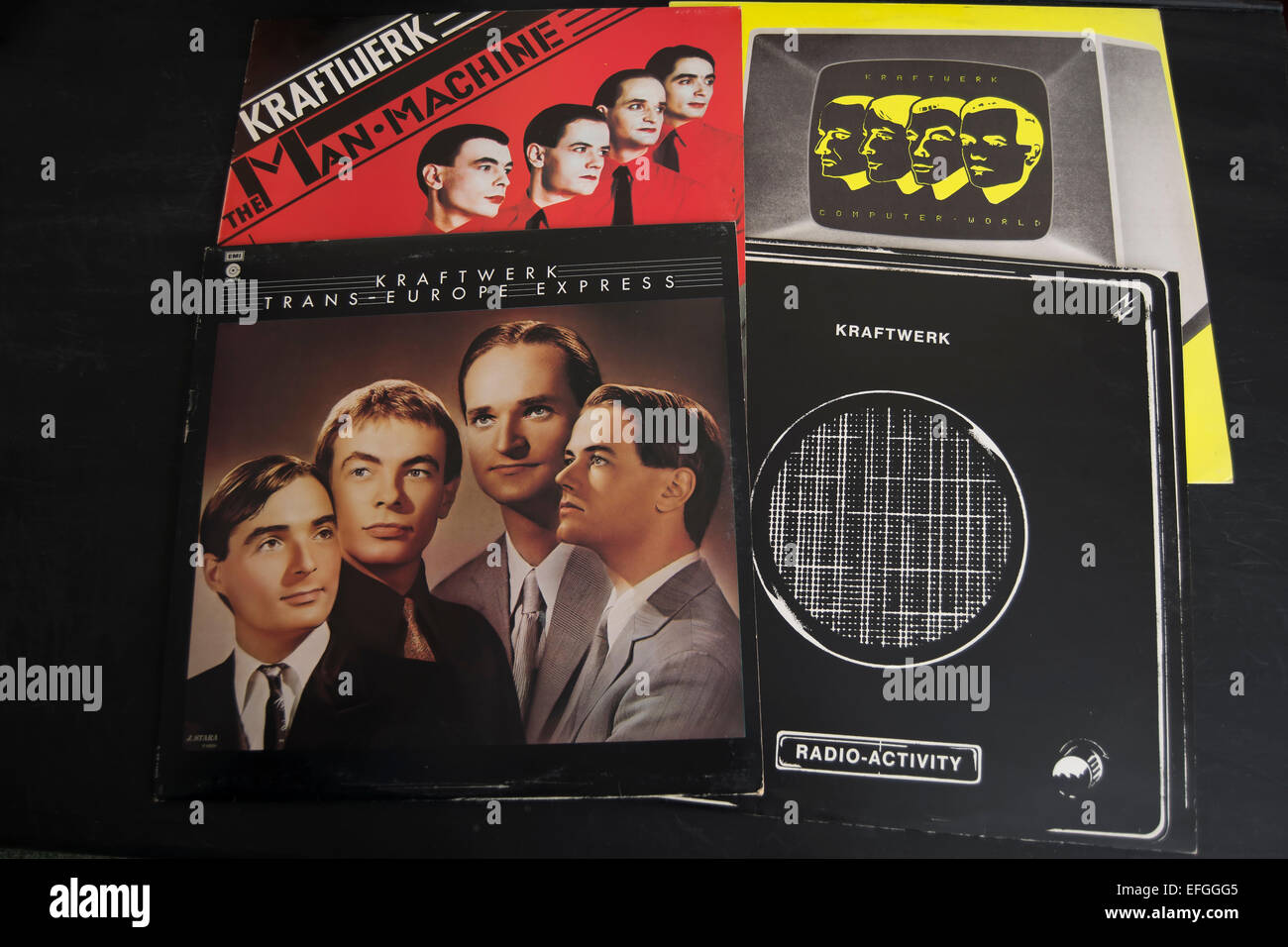 front covers of the kraftwerk albums, radio-activity, trans-europe express, the man machine and computer world Stock Photo