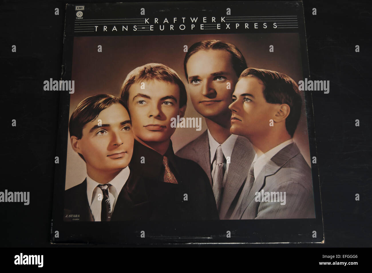 front cover of the 1977 kraftwerk album, trans-europe express Stock Photo