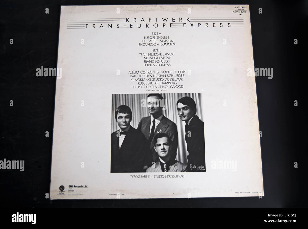rear cover of the 1977 kraftwerk album, trans-europe express Stock Photo
