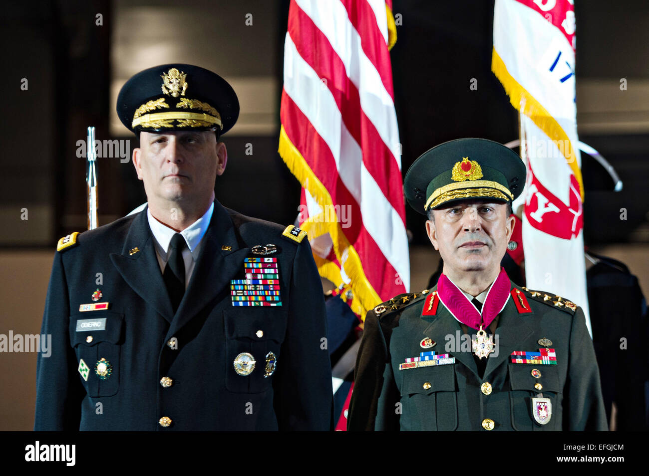 US Army Chief of Staff Gen. Raymond T. Odierno, left, and Gen. Hulusi Akar commander of Turkish Land Forces listen - Stock Image