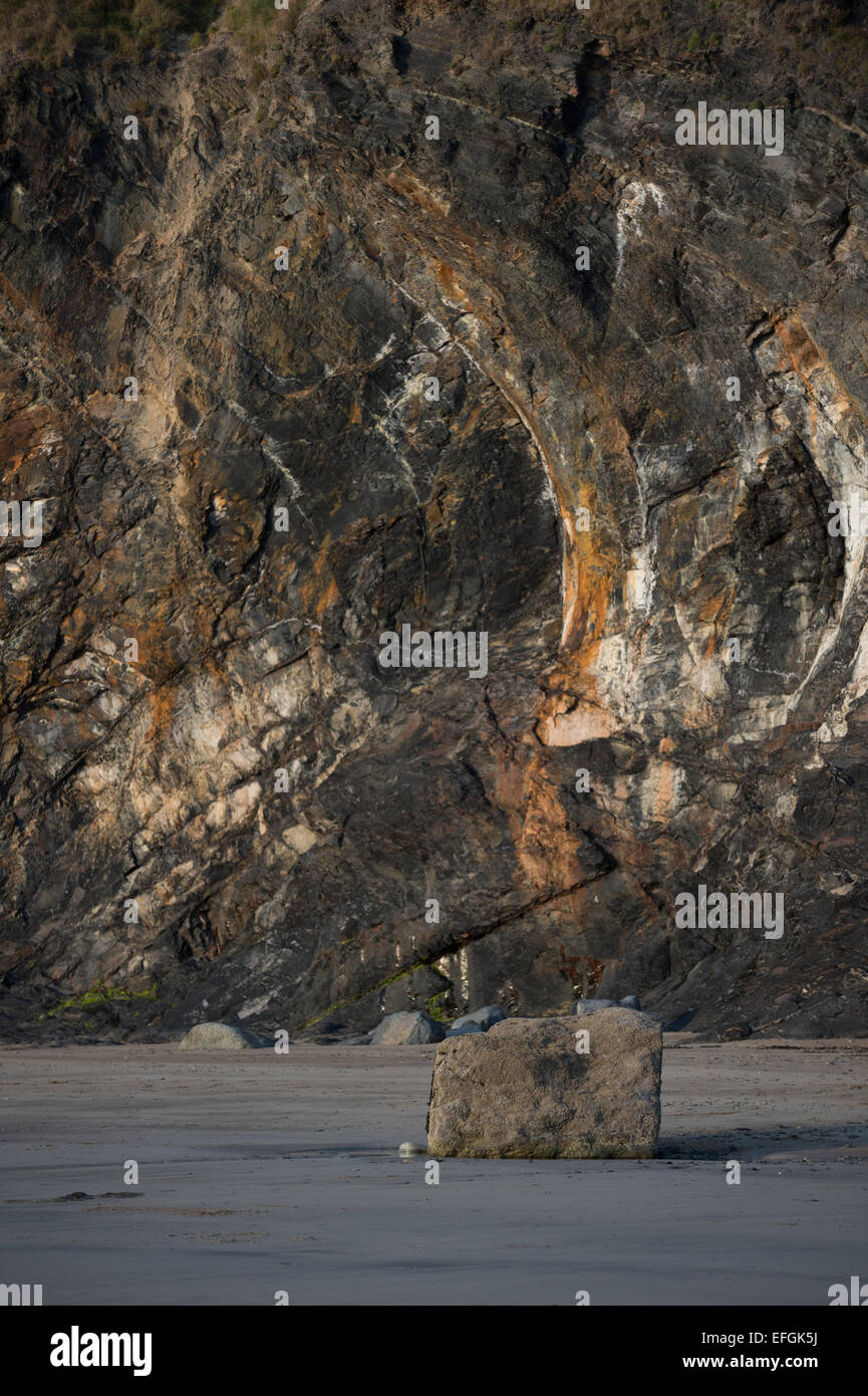 The beach below the Druidstone Hotel, West Wales - Stock Image