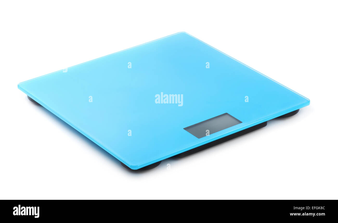 Blue digital bathroom scale isolated on white - Stock Image