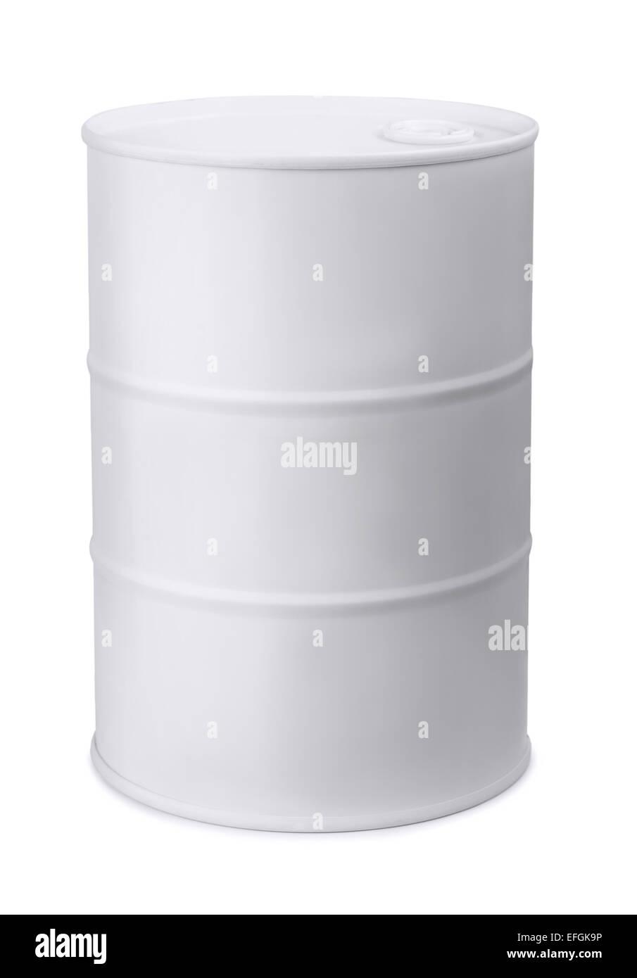 White metal barrel isolated on white - Stock Image