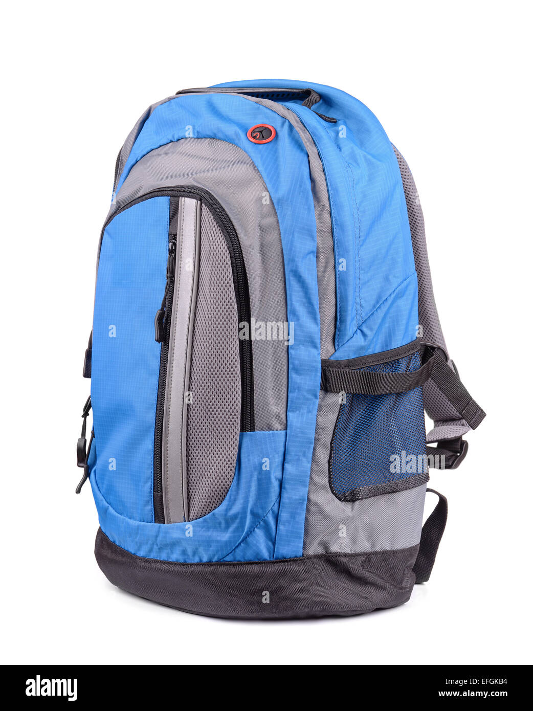 Blue backpack isolated on white - Stock Image