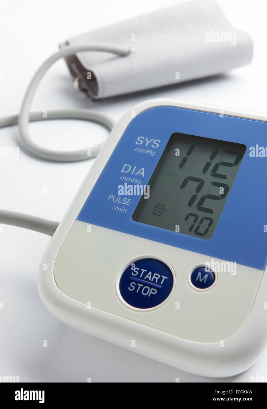 reading on blood pressure gauge shows that the condition is under control - Stock Image
