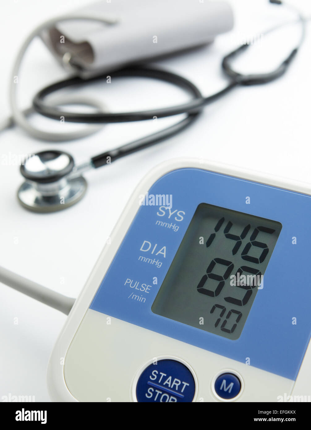 reading on the blood pressure gauge shows hypertension - Stock Image