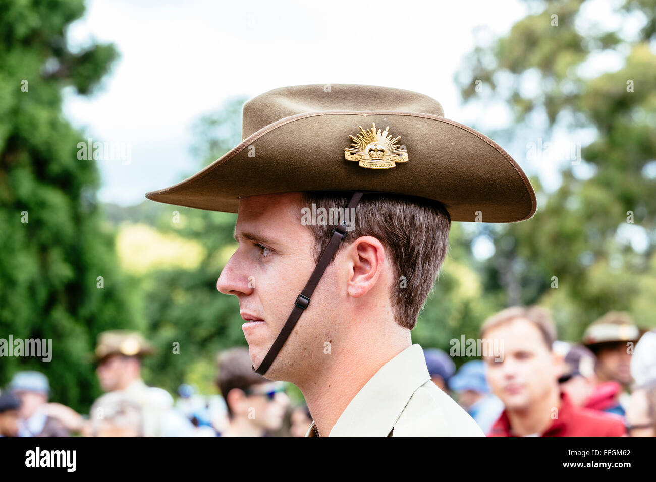 Australian soldier mingling with crowds at Shrine of Remembrance, Melbourne, following Australia Day 21 Gun Salute - Stock Image