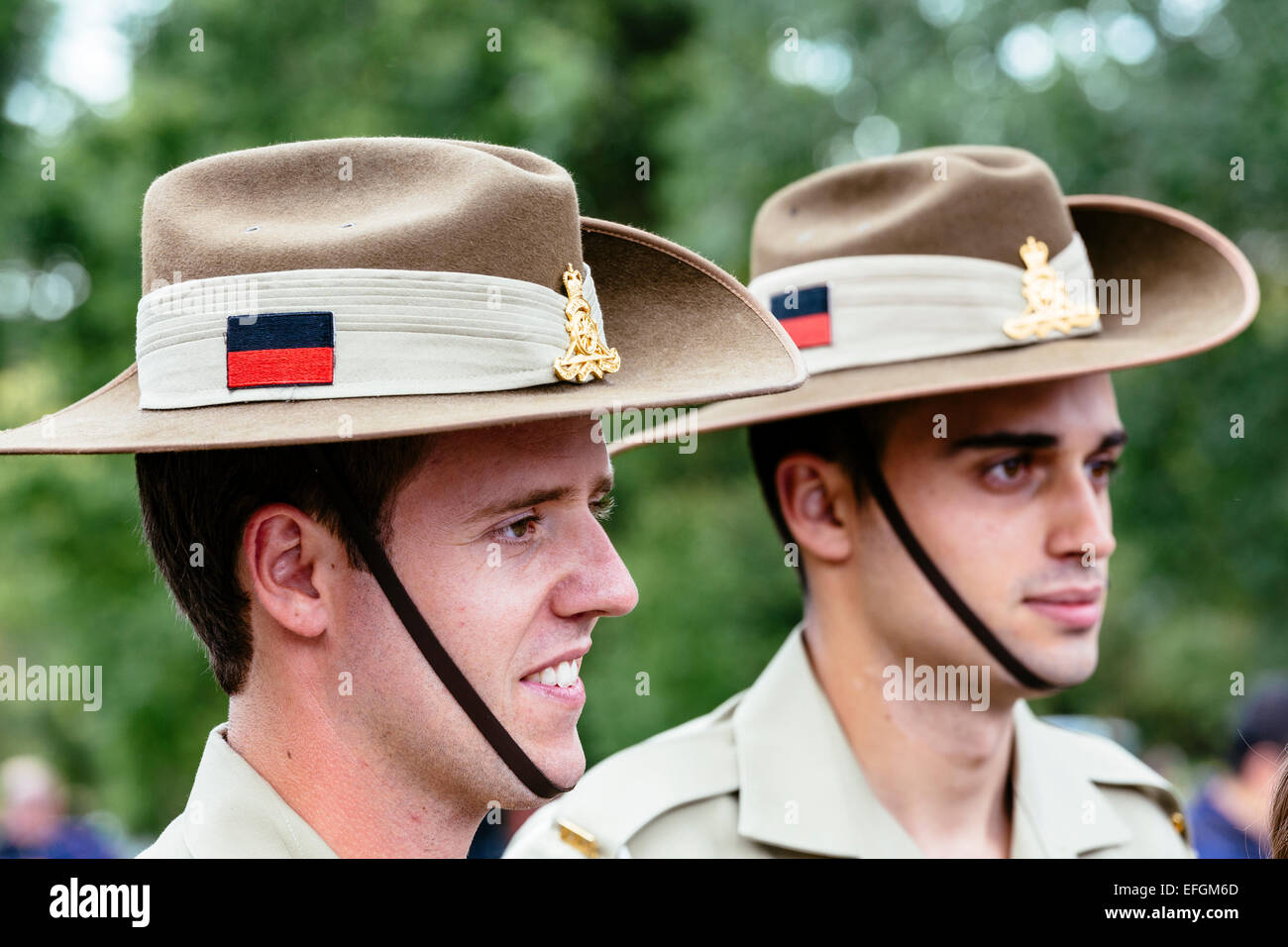 Two Australian soldiers mingling with crowds at Shrine of Remembrance, Melbourne, following Australia Day 21 Gun - Stock Image