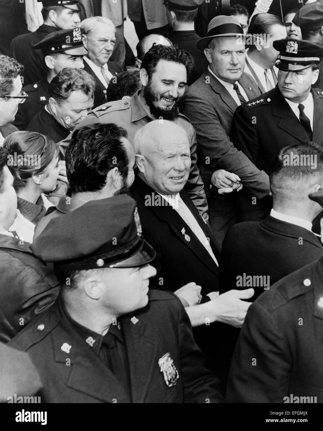 Soviet leader Nikita Khrushchev and Cuban leader Fidel Castro make their way through a crowd as they arrive at the - Stock Image