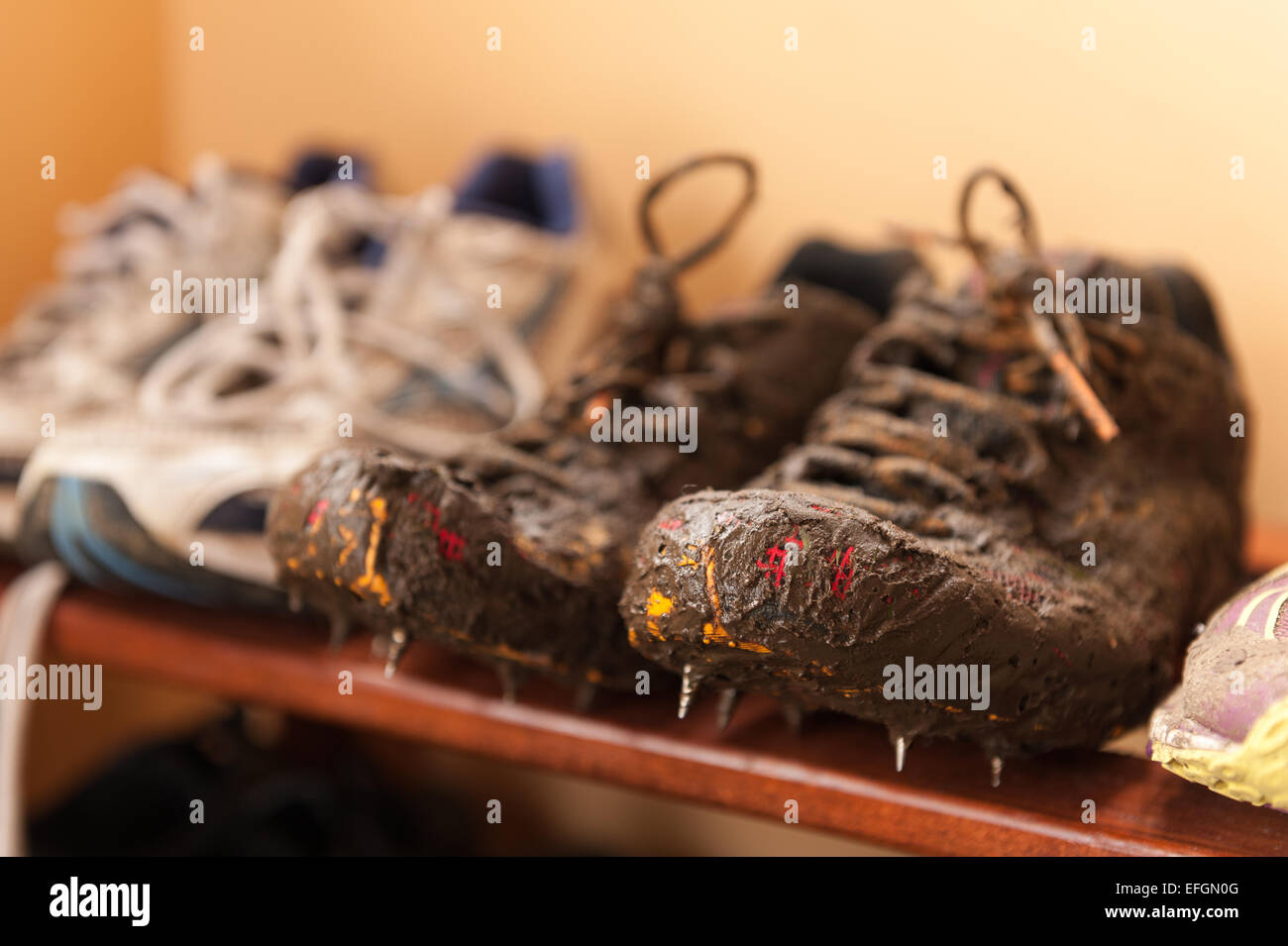 554e483f8c6e wet muddy running shoes coated in mud from cross country training showing  laces details and breathable
