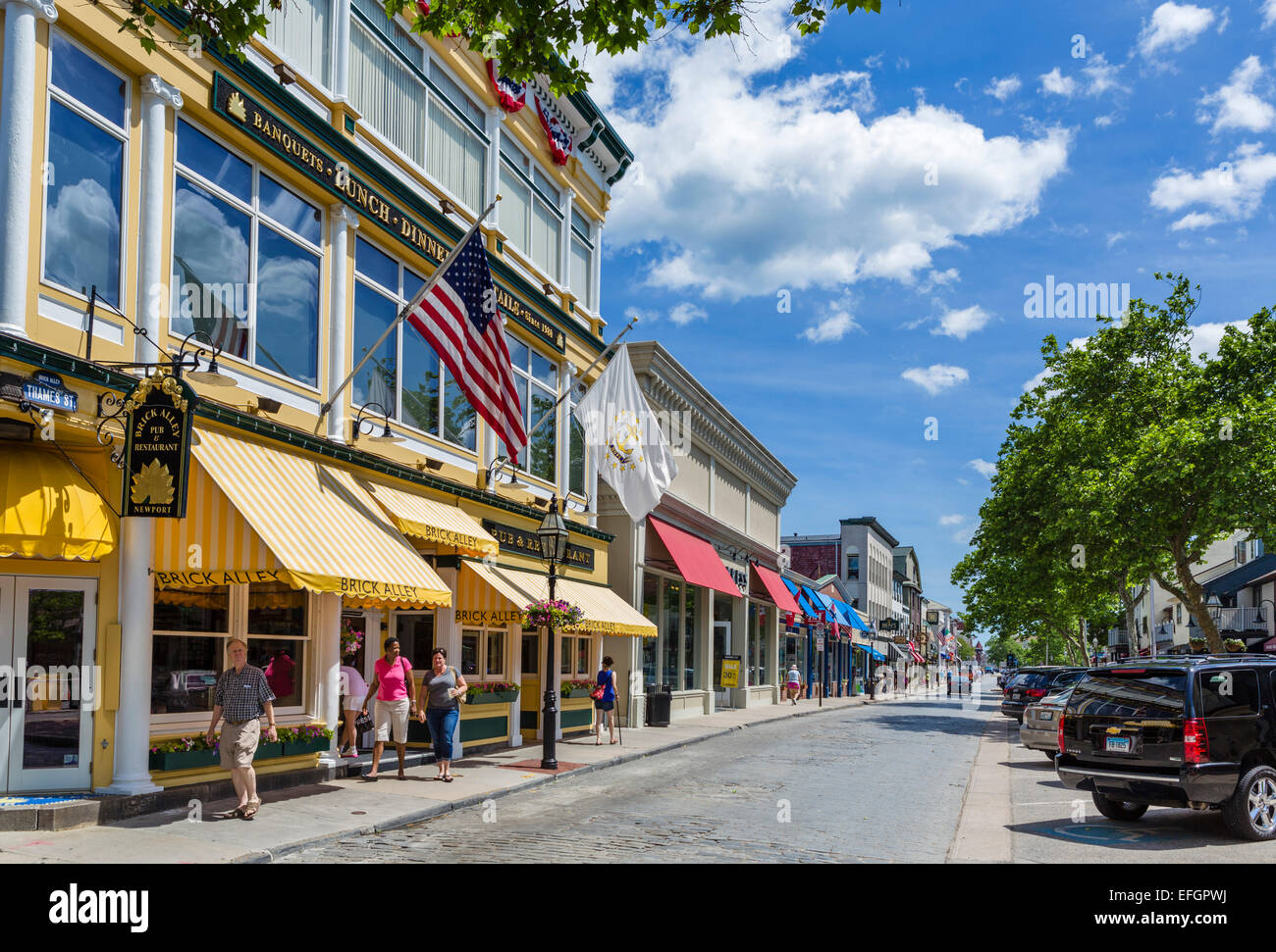 thames street in downtown newport rhode island usa stock photo