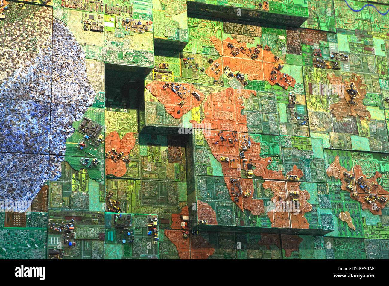 Mumbai, Maharashtra, India. 24th Dec, 2014. 24 december 2014 - Mumbai - INDIA :.A Art installation ''Recycled Mumbai Stock Photo