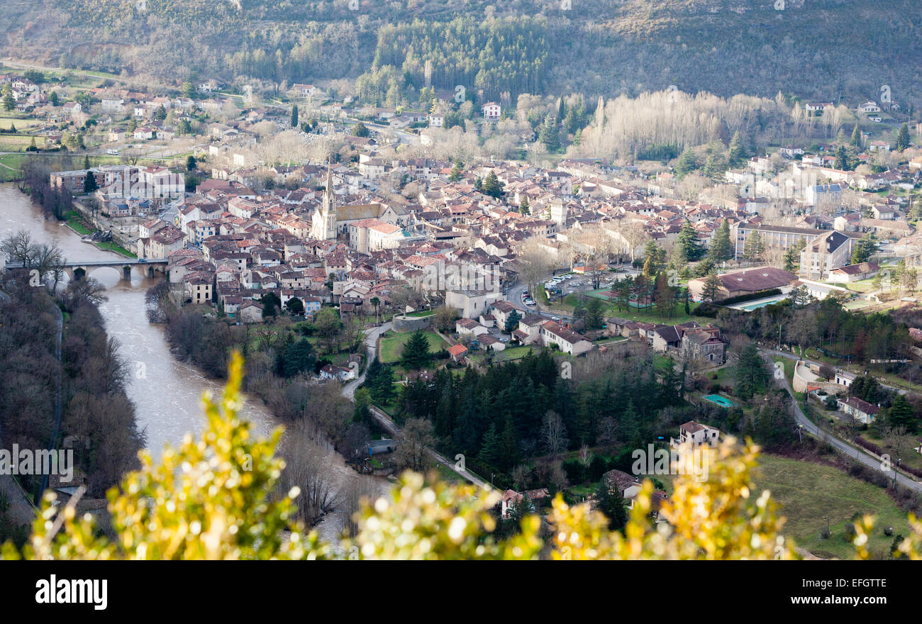 View of St. Antonin Noble Val and the river Aveyron in the department Tarn et Garonne in France - Stock Image