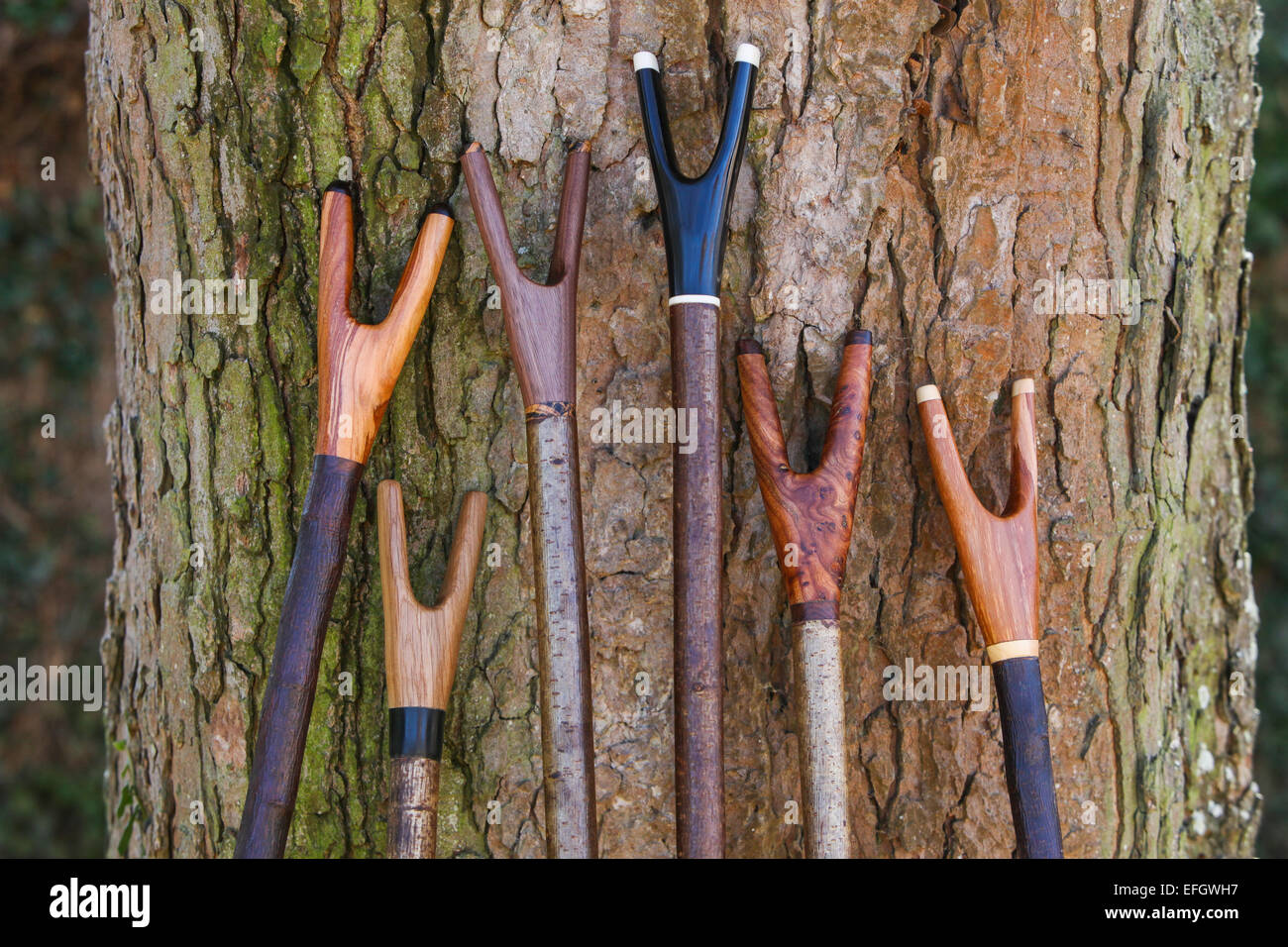 Variety Of Traditional Handcrafted Wooden Walking Sticks With Stock