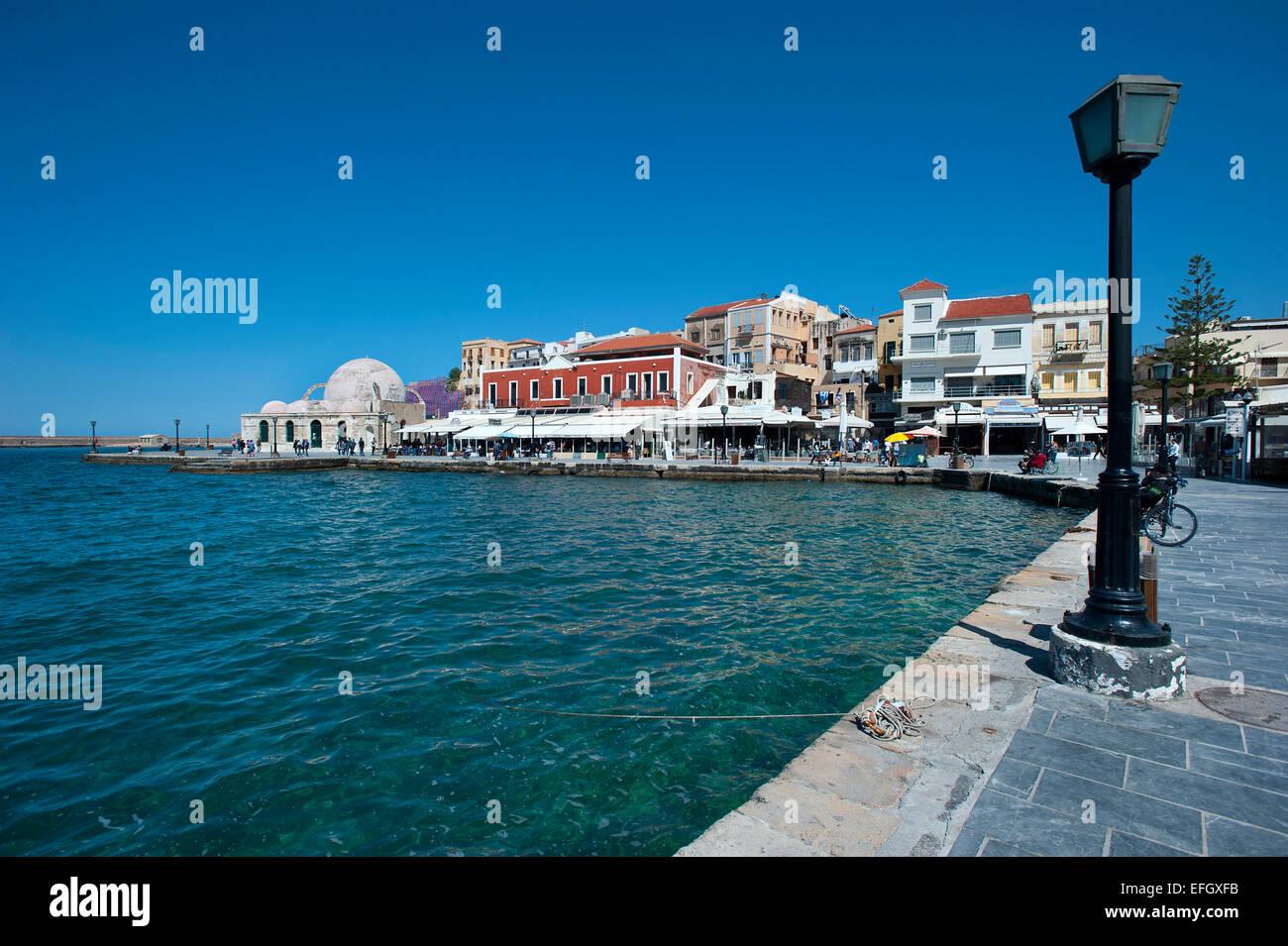 Venetian Harbour, Chania, Crete, Greece - Stock Image