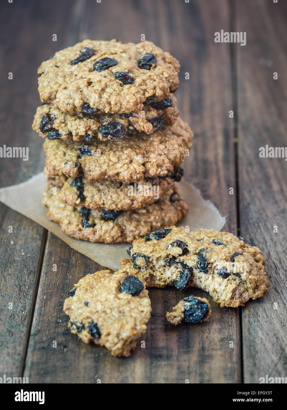 Homemade wholemeal spelt oatmeal cookies. - Stock Image