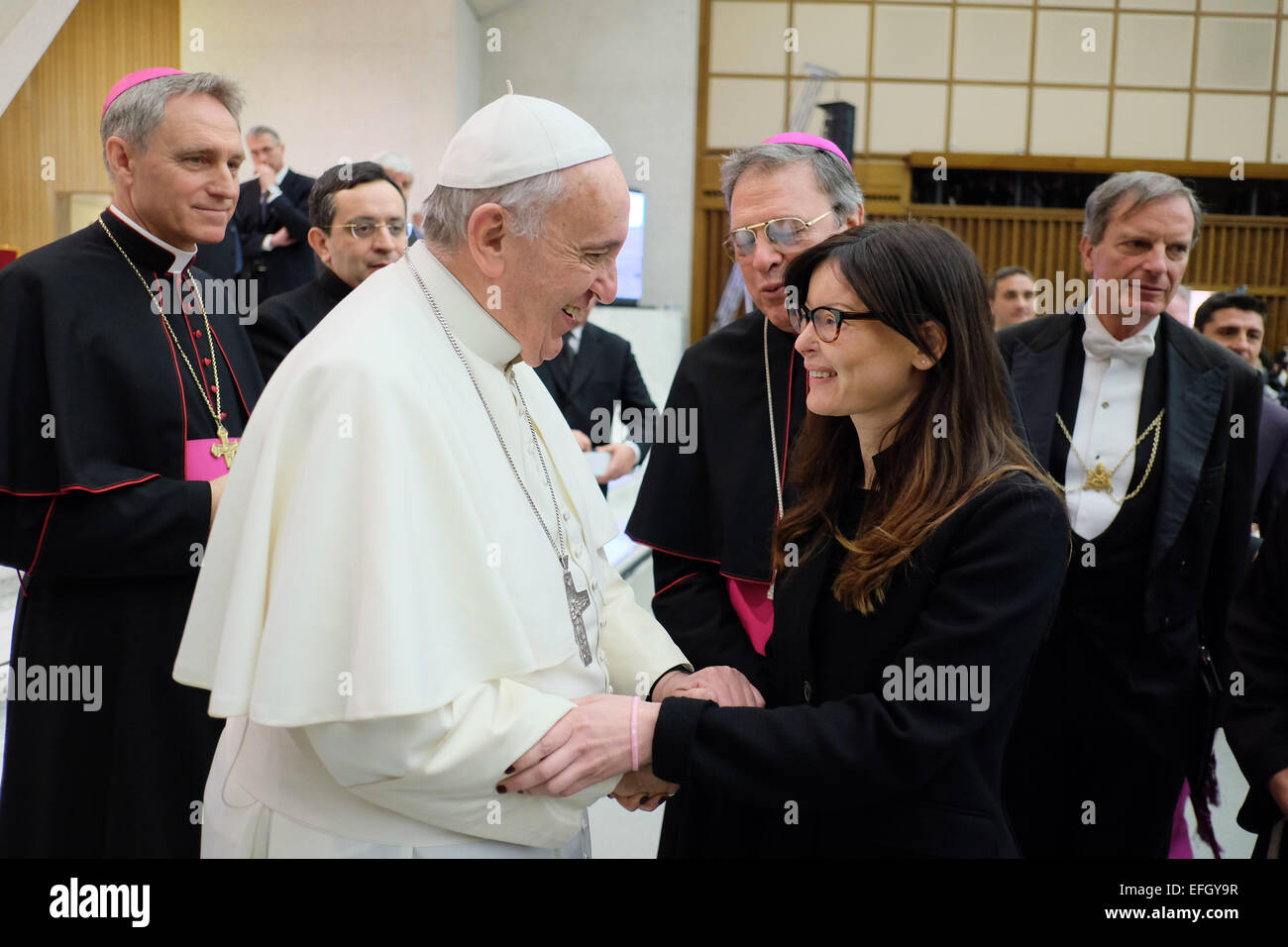 Lucia Annibali ( The girl disfigured with acid by her ex boyfriend )meets  Pope Francis - general audience 04 feb 2015. Credit  Realy Easy Star Alamy  Live ... 183e79c6167