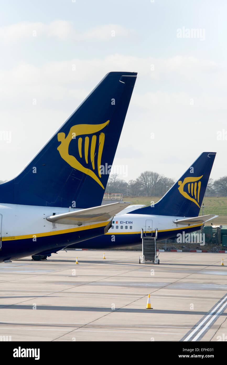 Ryanair Boeing 737 aircraft at Birmingham Airport, UK - Stock Image