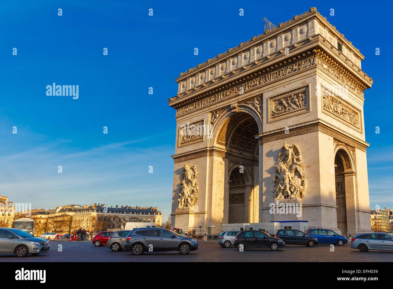 Arc de triomphe Paris afternoon - Stock Image