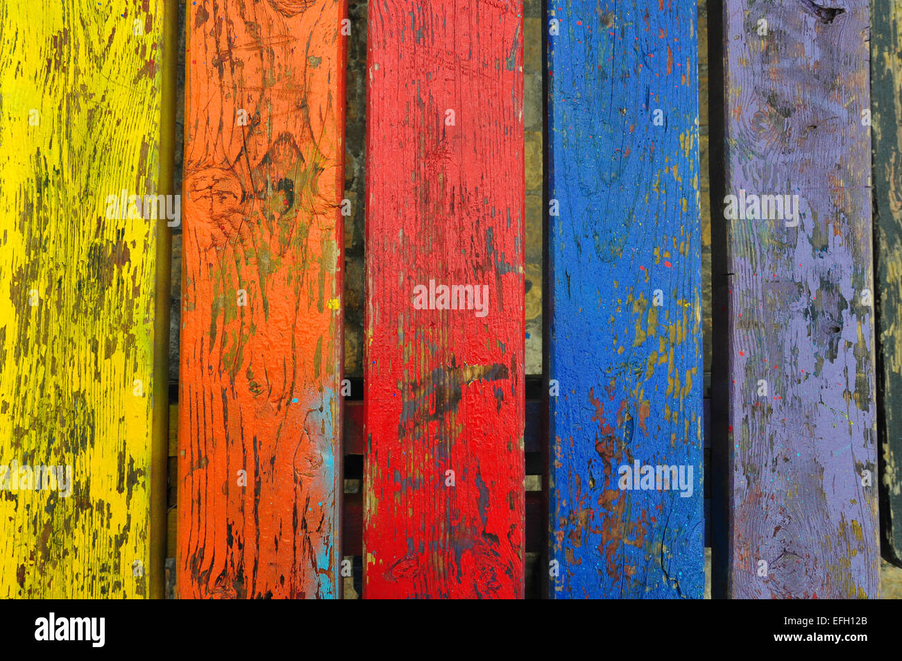 Chipped paint wood texture colorful planks weathered wooden boards