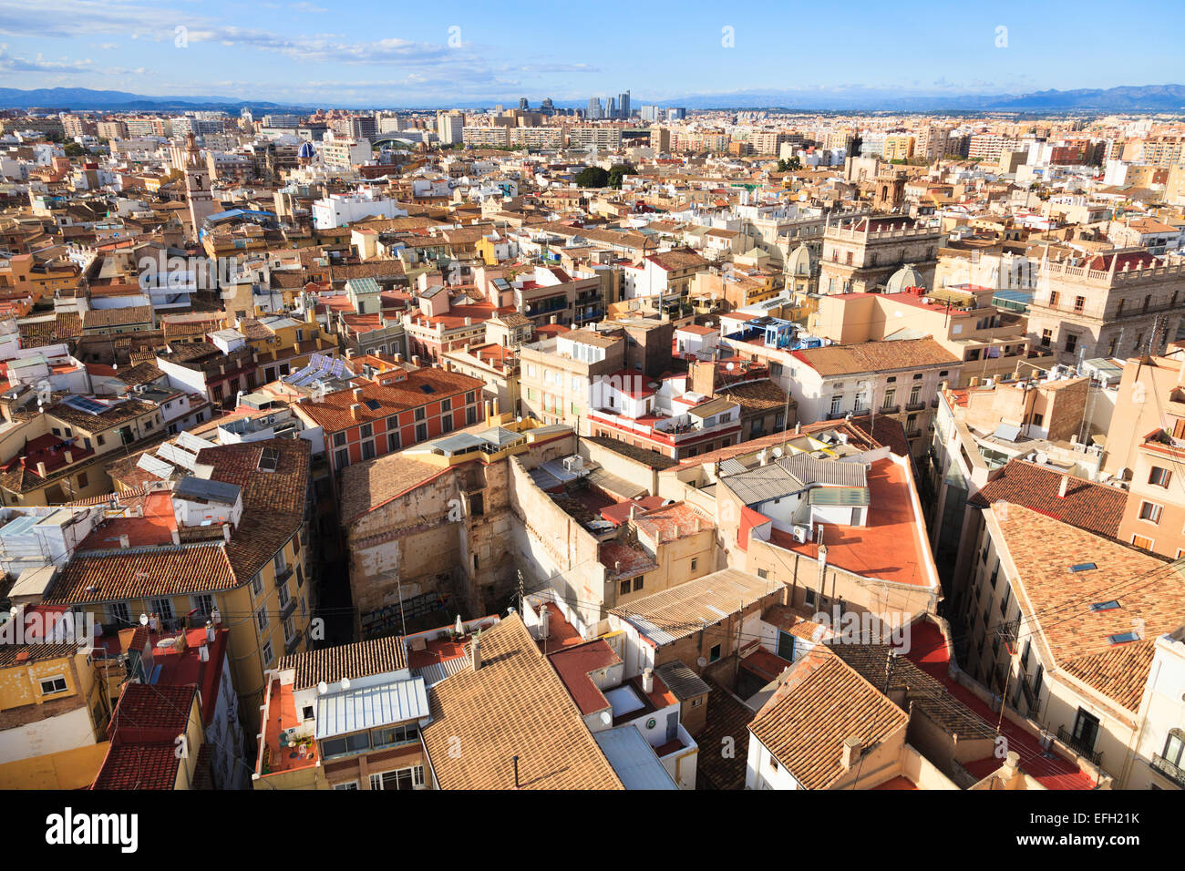 Rooftop cityscape of Valencia in Spain - Stock Image