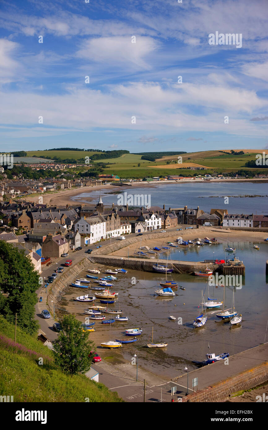 Summer view overlooking Stonehaven, Aberdeen-shire, N/E Scotland. - Stock Image