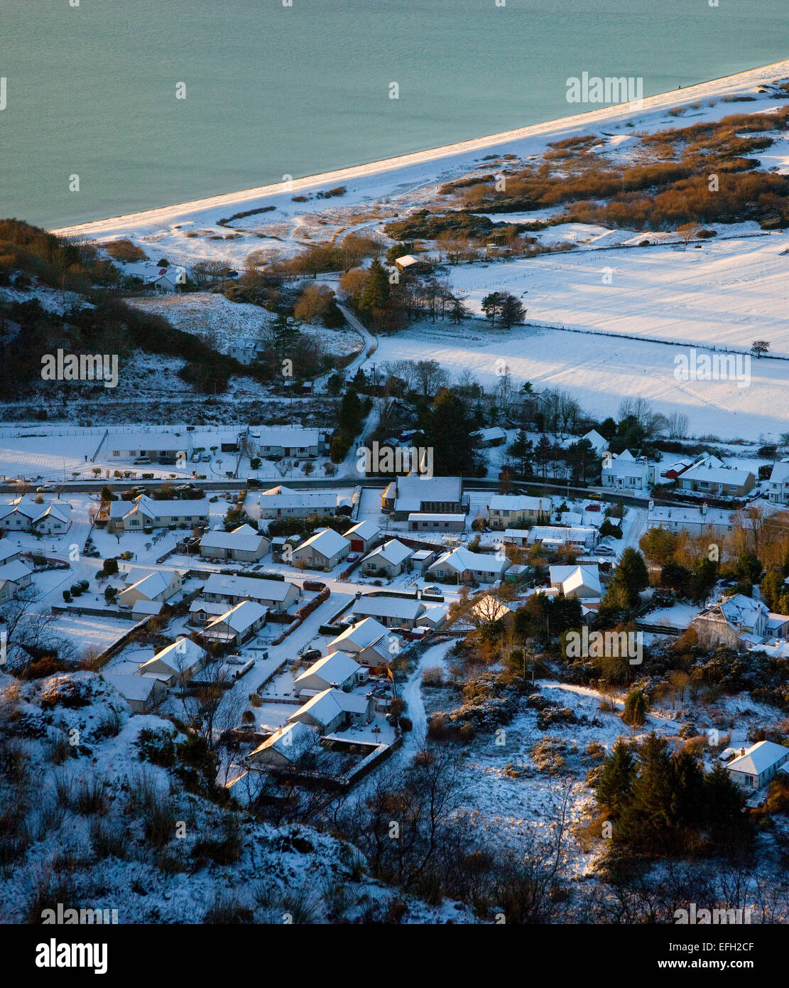 Winter view from Ben Lora onto Benderloch-village and tralee-bay.by Oban,Argyll,Scotland - Stock Image