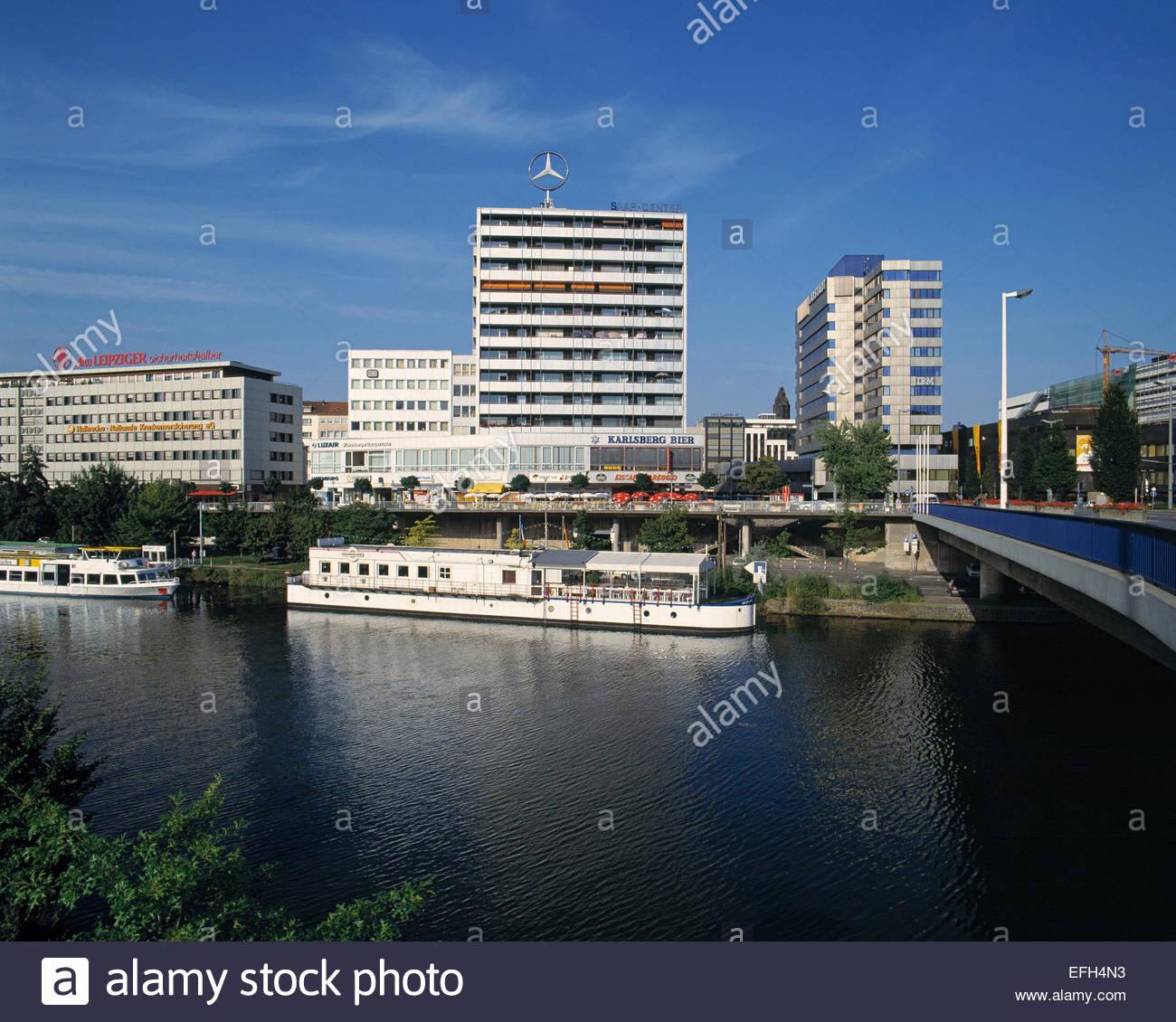 D-Saarbruecken, D-Saarbruecken-St. Johann, Saar, Saarland, Saarufer, Flusslandschaft, Ausflugsschiffe, Geschaeftshaeuser, Stock Photo