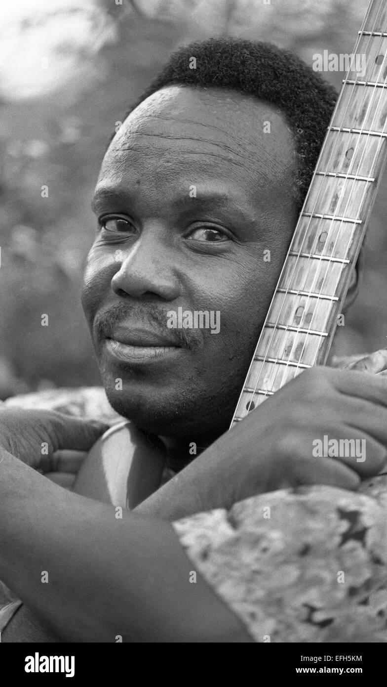 Duncan Senyatso, Afro jazz-fusion singer & guitarist from Botswana. Photographed in Edinburgh 2003  Photograph by Stock Photo