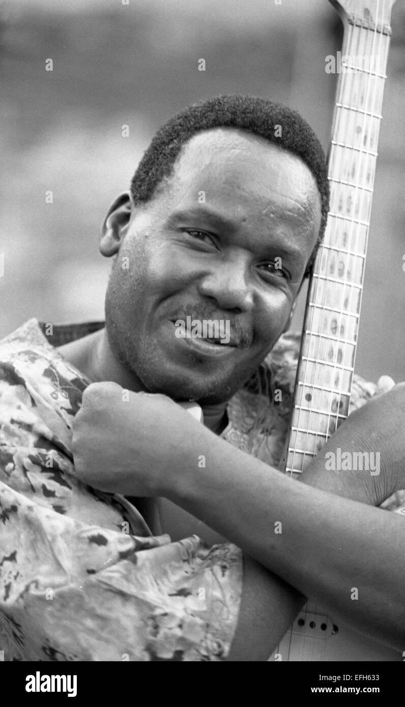 Duncan Senyatso, Afro jazz-fusion singer & guitarist from Botswana. Photographed in Edinburgh 2003  Photograph - Stock Image