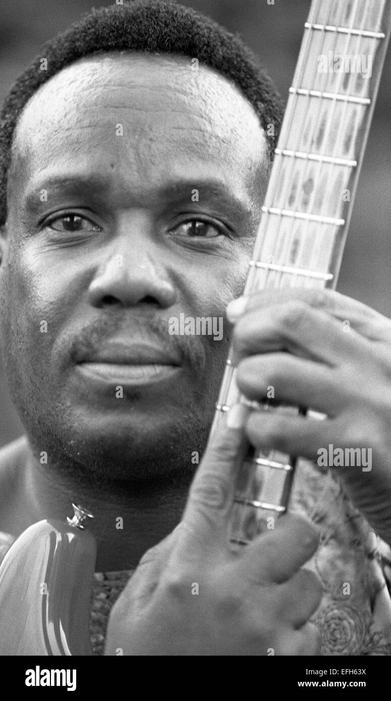 Duncan Senyatso, Afro jazz-fusion singer & guitarist from Botswana. Photographed in Edinburgh 2003  Photograph by Stock Photo