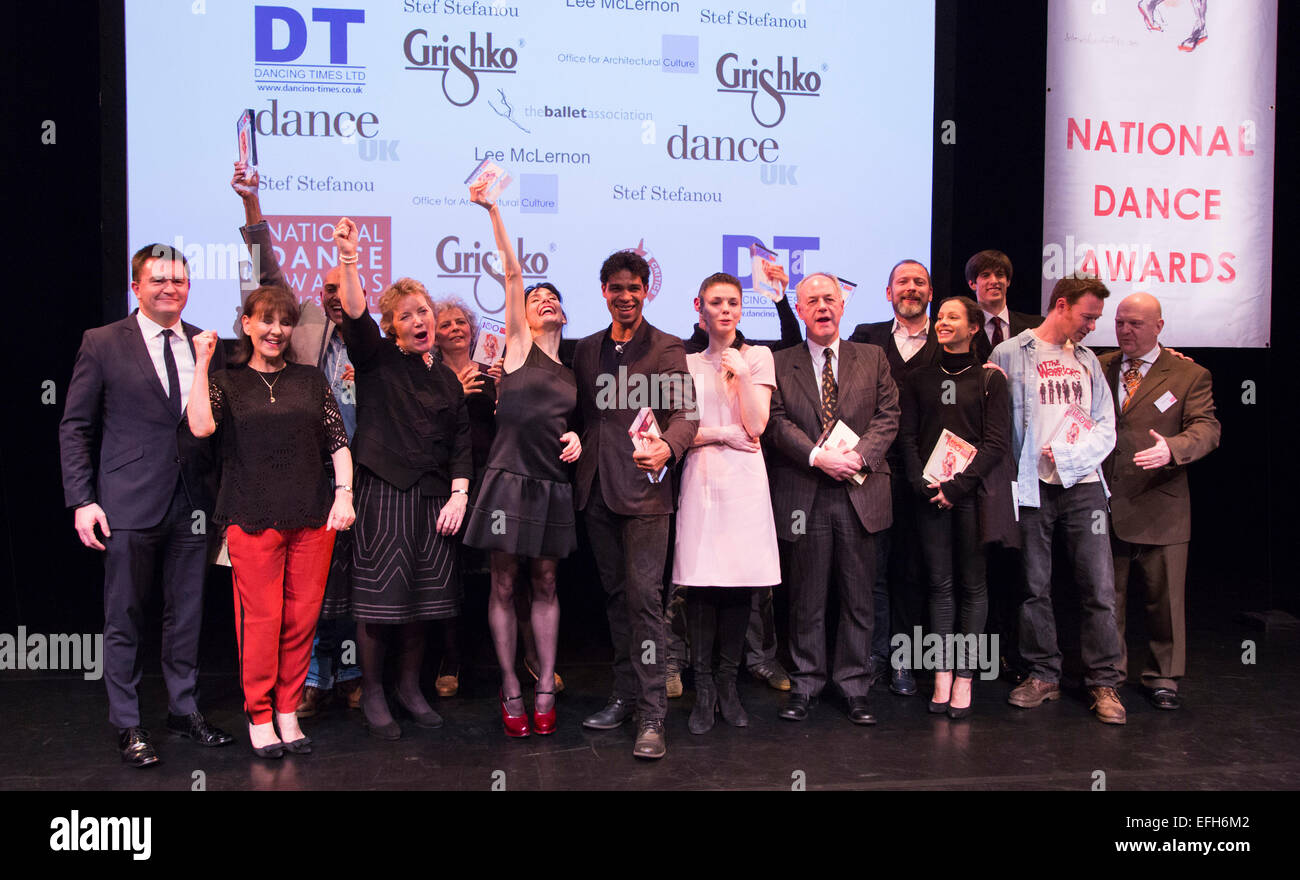 The winners line up on stage. From left: Justin Bickle, Arlene Phillips, Farooq Chaudhry, Caroline Thomson, Wendy - Stock Image