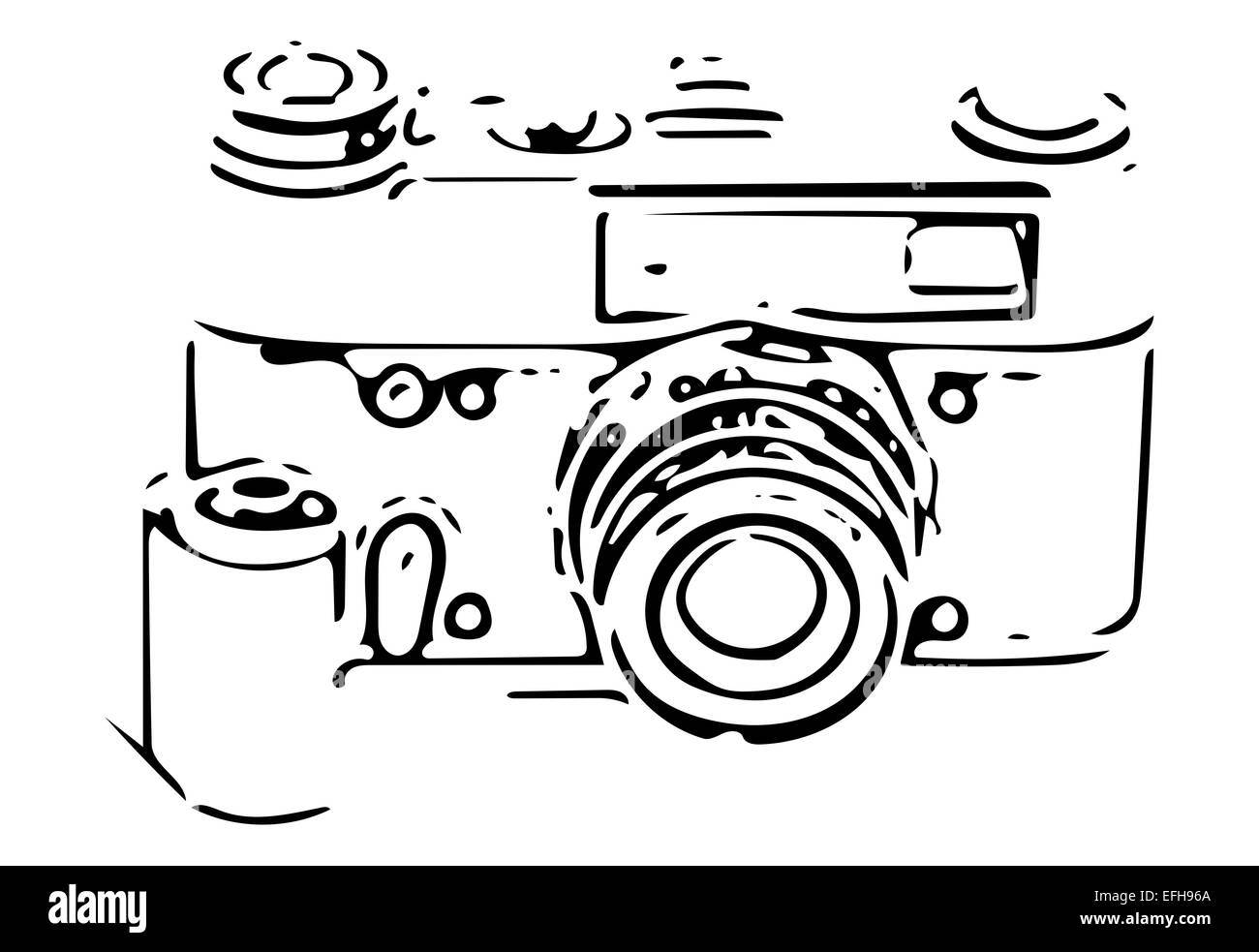 retro SLR camera sketch with 35mm film reel and negative on white - Stock Image